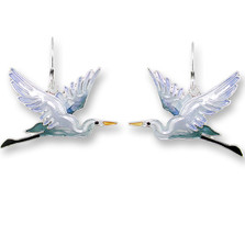 Heron Enameled Silver Plated Wire Earrings | Zarah Jewelry | 19-12-Z1
