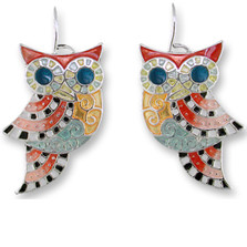 Owl Enameled Silver Plated Wire Earrings | Zarah Jewelry | 20-07-Z1