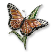 Monarch Butterfly Enameled Silver Plated Pin | Zarah Jewelry | 21-05-Z2
