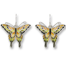 Swallowtail Butterfly Enameled Silver Plated Wire Earrings | Zarah Jewelry | 21-06-Z1
