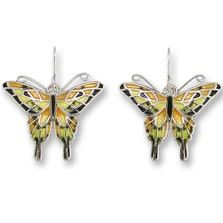 Swallowtail Butterfly Enameled Silver Plated Wire Earrings | Zarah Jewelry | 21-06-Z1