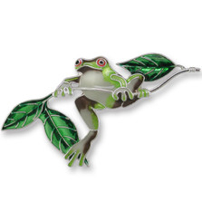 Frog Enameled Silver Plated Pin | Zarah Jewelry | 21-22-Z2