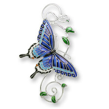 Tiger Swallowtail Butterfly Enameled Silver Plated Pin | Zarah Jewelry | 21-26-Z2