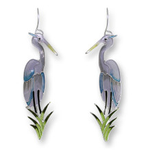 Great Blue Heron Enameled Silver Plated Wire Earrings | Zarah Jewelry | 21-38-Z1