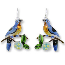 Bluebird and Dogwood Enameled Wire Earrings | Zarah Jewelry | 21-39-Z1