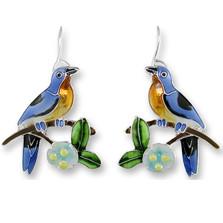 Bluebird and Dogwood Enameled Wire Earrings | Zarah Jewelry | 21-39-Z1