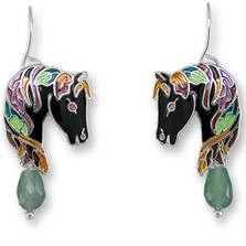 Horse Enameled Wire Earrings | Zarah Jewelry | 27-06-Z1