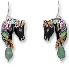Horse Enameled Wire Earrings | Zarah Jewelry | 27-06-Z1