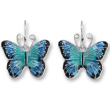 Blue Morpho Butterfly Enameled Wire Earrings | Zarah Jewelry | 29-05-Z1
