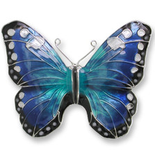Blue Morpho Butterfly Enameled Silver Plated Pin | Zarah Jewelry | 29-05-Z2