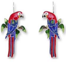 Macaw Enameled Wire Earrings | Zarah Jewelry | 29-07-Z1