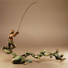 "Fishing Bronze Sculpture ""Boulder Creek"" 