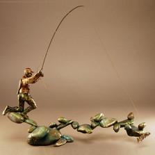 "Fishing Bronze Sculpture ""Boulder Creek"" | Mark Hopkins | 21055"