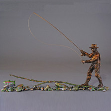 "Fishing Bronze Sculpture ""Casting Call"" 