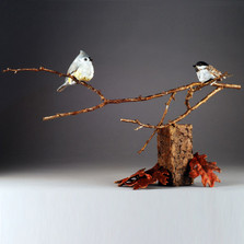 "Chickadee Bronze Bird Sculpture ""Close Encounter"" 