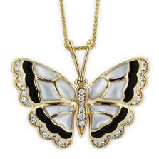 Butterfly 14K Gold Inlay Pendant Necklace | Kabana Jewelry | GPCF697OXMW-CH