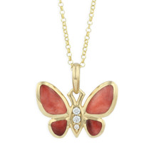 Butterfly 14K Gold Red Inlay Pendant Necklace | Kabana Jewelry | GPIF001SR-CH