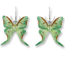 Luna Moth Enameled Wire Earrings   Zarah Jewelry   29-24-Z1