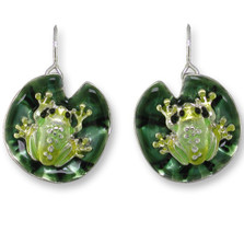 Frog On Lily Pad Enameled Wire Earrings | Zarah Jewelry | 32-09-Z1