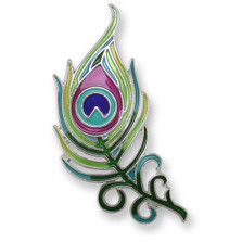 Peacock Feather Enameled Silver Plated Pin | Zarah Jewelry | 32-12-Z2