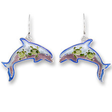 Dolphin Montage Enameled Wire Earrings | Zarah Jewelry | 32-13-Z1