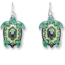 Turtle Montage Enameled Wire Earrings | Zarah Jewelry | 32-14-Z1