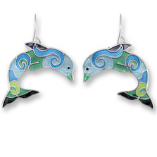 Dolphin Enameled Wire Earrings | Zarah Jewelry | 32-20-Z1