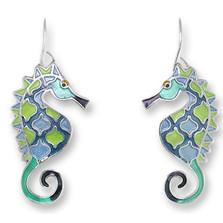 Seahorse Enameled Wire Earrings | Zarah Jewelry | 32-21-Z1