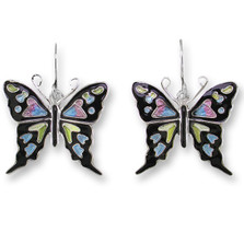 Purple Swallowtail Butterfly Enameled Wire Earrings | Zarah Jewelry | 32-26-Z1