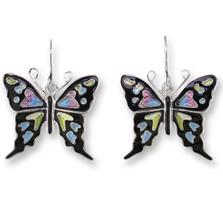 Purple Swallowtail Butterfly Enameled Wire Earrings | Zarah Jewelry | 32-26-Z1
