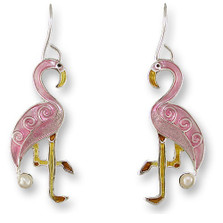 Flamingo Enameled Silver Plated Pearly Wire Earrings | Zarah Jewelry | 33-01-Z1