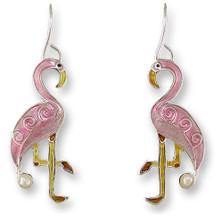 Flamingo Enameled Silver Plated Pearly Wire Earrings   Zarah Jewelry   33-01-Z1