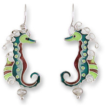 Seahorse Enameled Silver Plated Pearly Wire Earrings   Zarah Jewelry   33-03-Z1