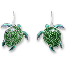 Sea Turtle Enameled Hawaiian Honu Wire Earrings | Zarah Jewelry | 32-19-Z1