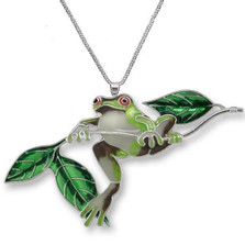 Frog on Twig Enameled Silver Plated Necklace | Zarah Jewelry | 21-22-Z2P