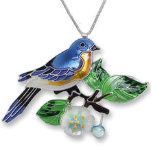 Bluebird and Dogwood Enameled Silver Plated Necklace | Zarah Jewelry | 21-39-Z2P