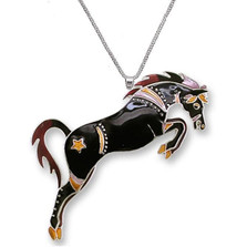 Black Stallion Enameled Silver Plated Necklace | Zarah Jewelry | 27-03-Z2P