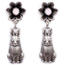 Flower and Bunny Dangle Earrings | La Contessa Jewelry | Mary DeMarco | ER9541PK