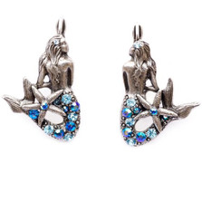 Mermaid With Stone Tail Earrings | Nature Jewelry | ER9511BL