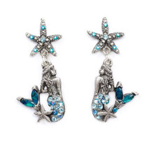 Starfish and Mermaid Droplet Earrings | Nature Jewelry | CER9506BL