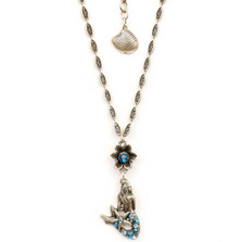 Flower and Mermaid Pendant Necklace | Nature Jewelry | NK9505BL
