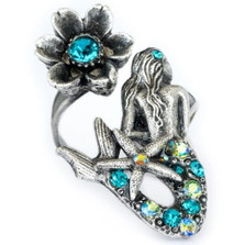 Mermaid and Flower Twist Ring | Nature Jewelry | RG9501BG
