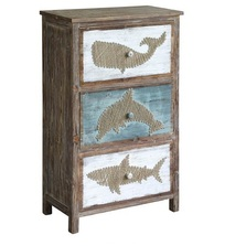 Whale, Dolphin, and Shark 3 Drawer Yarn Chest | Crestview Collection | CVFZR2274