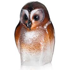 Owl Brown Crystal Sculpture | 34245 | Mats Jonasson Maleras