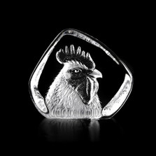 Rooster Head Crystal Sculpture | 34234 | Mats Jonasson Maleras