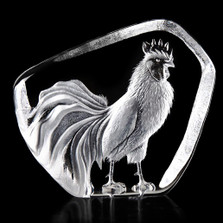 Rooster Crystal Sculpture | 34235 | Mats Jonasson Maleras
