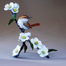 """Bronze Bird and Flower Sculpture """"Morning Blooms"""" 72036   Mark Hopkins   72036"""
