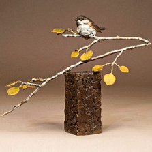 "Chickadee Bronze Sculpture ""Mountain Gold"" 73021 