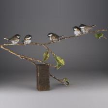 "Chickadee Bronze Sculpture ""Fine Feathers"" 