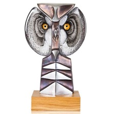 Owl Iron and Crystal Sculpture | Strix II | 68146 | Mats Jonasson Maleras